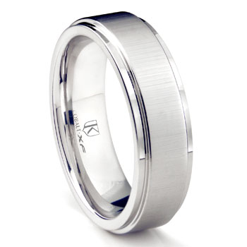 Cobalt XF Chrome 8MM Satin Finish Wedding Band Ring w/ Raised Center