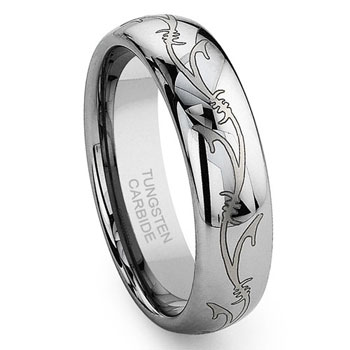 Tungsten Carbide Laser Engraved Vine Celtic Irish Wedding Band Ring