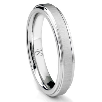 Cobalt XF Chrome 4MM Satin Finish Wedding Band Ring w/ Raised Center