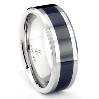 Cobalt XF Chrome 8MM Two Tone Beveled Polished Wedding Band Ring