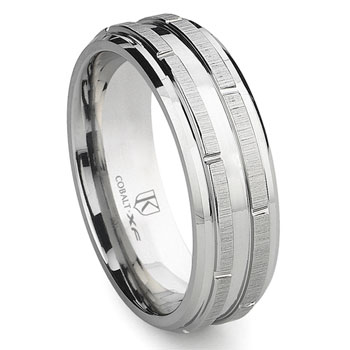 Cobalt XF Chrome 8MM Wedding Band With Raise Bars