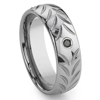 Tungsten Carbide Chevron Black Diamond Wedding Band Ring