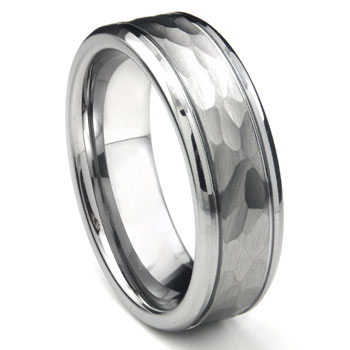Tungsten Carbide Hammer Finish Wedding Band Ring /w Grooves