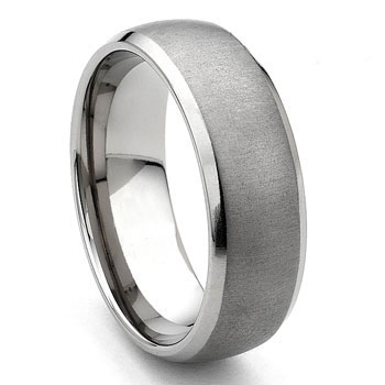 Tungsten Carbide Horizontal Satin Finish Wedding Band Ring