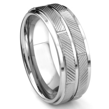 Tungsten Carbide Diamond Cut Wedding Band Ring