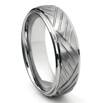 Tungsten Diamond Cut Dome Wedding Band Ring