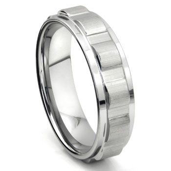 Tungsten 7MM Coin Edge Wedding Band Ring