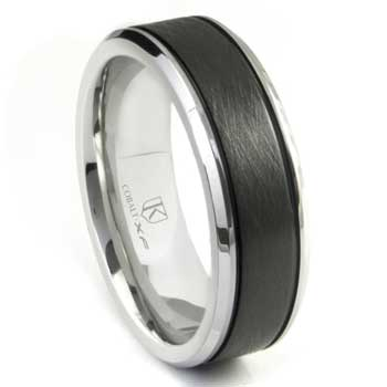 Cobalt XF Chrome Two Tone Di Seta Finish Wedding Band Ring w/ Grooves