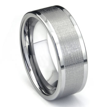 Tungsten 9MM Di Seta Finish Wedding Band Ring