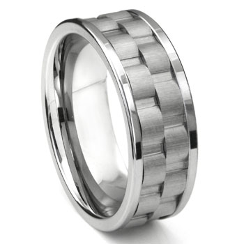 Tungsten 9MM Double Coinedge Wedding Band Ring