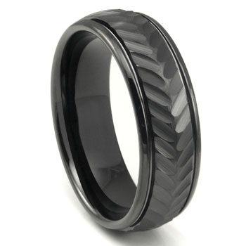 Black Tungsten Carbide 8MM Chevron Newport Wedding Band Ring