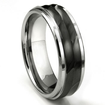 Tungsten 8MM Wave Finish  Wedding Band Ring