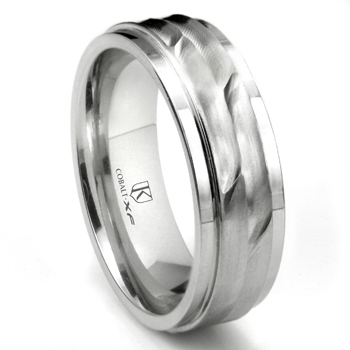 Cobalt XF Chrome 8MM Wave Finish Wedding Band Ring