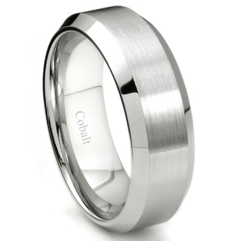 Cobalt XF Chrome 8MM Brush Finish Bevel Edge Wedding Band Ring