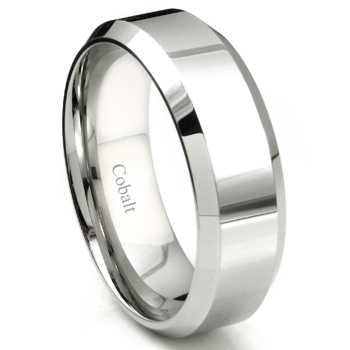 Cobalt XF Chrome 8MM High Polish Bevel Edge Wedding Band Ring