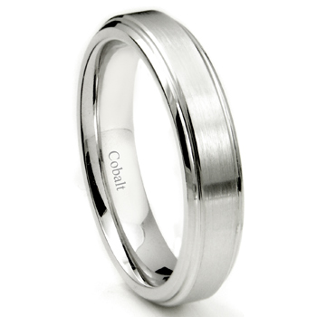 Cobalt XF Chrome 5MM Brush Center Wedding Band Ring w/ High Polish Stepped Edges