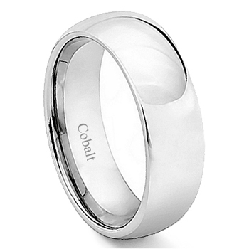 Cobalt XF Chrome 7MM High Polish Plain Dome Wedding Band Ring