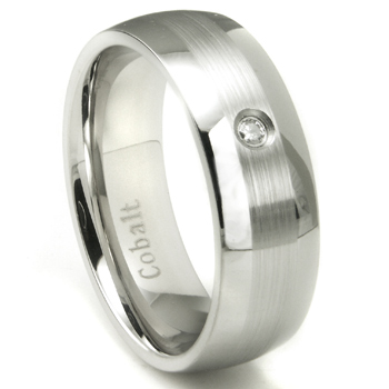 Cobalt Chrome 8MM Solitaire Diamond Dome Wedding Band w/ Brushed Center