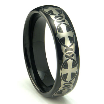 Black Tungsten Laser Engraved Celtic Cross Dome Wedding Band Ring