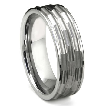 Tungsten Hammered Finish Flat Wedding Band Ring