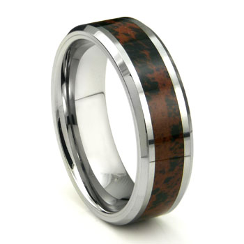 Tungsten Crimson Riverstone Inlay Wedding Band Ring