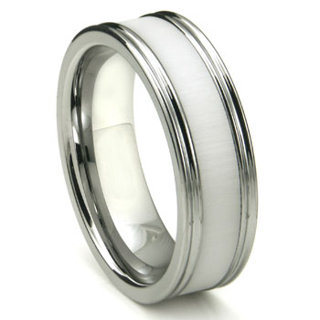 Tungsten Carbide White Cermic Inlay Wedding Band Ring w/ Horizontal Satin Finish
