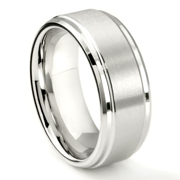 White Tungsten 9MM Brush Center Wedding Band Ring
