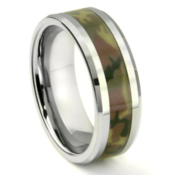 Tungsten carbide military us woodland camouflage wedding ring for Tungsten camo wedding rings