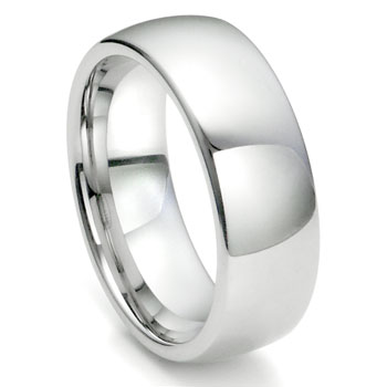 White Tungsten Carbide 8MM Plain Dome Wedding Ring