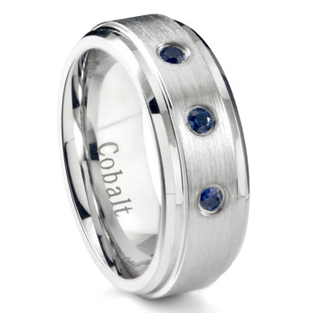 Cobalt Chrome 7MM 3 Blue Sapphire Wedding Band Ring w/ Stepped Edges
