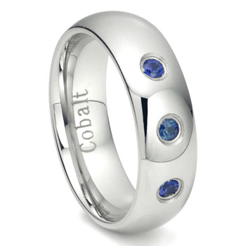 Cobalt Chrome 7MM 3 Blue Sapphire Domed Wedding Band Ring