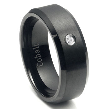 Cobalt Chrome Black Plated Diamond Wedding Band Ring
