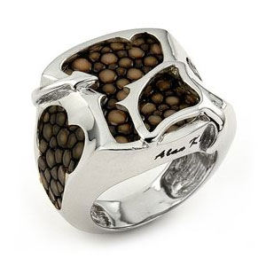 Sterling Silver Mocha Organic Stingray Leather Signet Ring