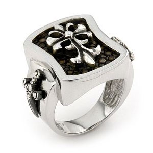 Sterling Silver Mocha Stingray Leather Fleur-de-Lis Signet Cross Ring