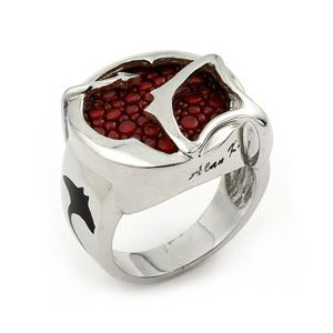 Sterling Silver Red  Stingray Leather Round Signet Ring