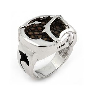 Sterling Silver Mocha Stingray Leather Round Signet Ring