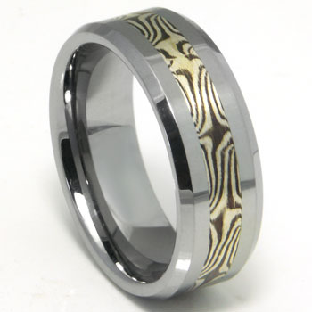 Tungsten Carbide Wedding Band Ring w/ Shakudo Silver Inlay