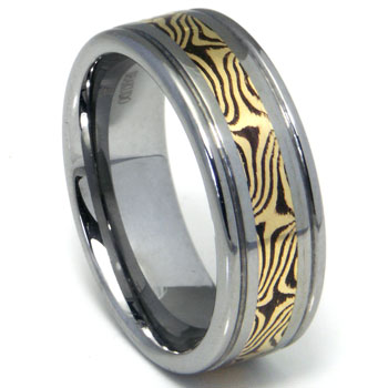 Tungsten Carbide Wedding Band Ring w/ Shakudo 14K Gold Inlay