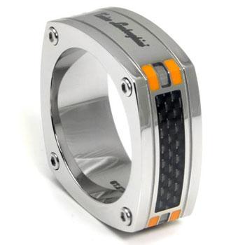 LAMBORGHINI Stainless Steel Carbon Fiber Ring w/ Orange Crystals