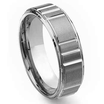 Tungsten Carbide Diamond Cut Horizontal Groove Wedding Band Ring
