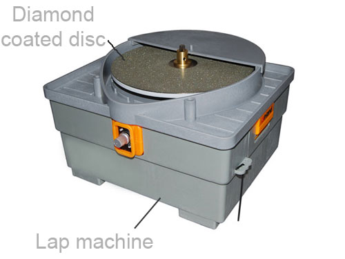diamond coated disc on a lap machine