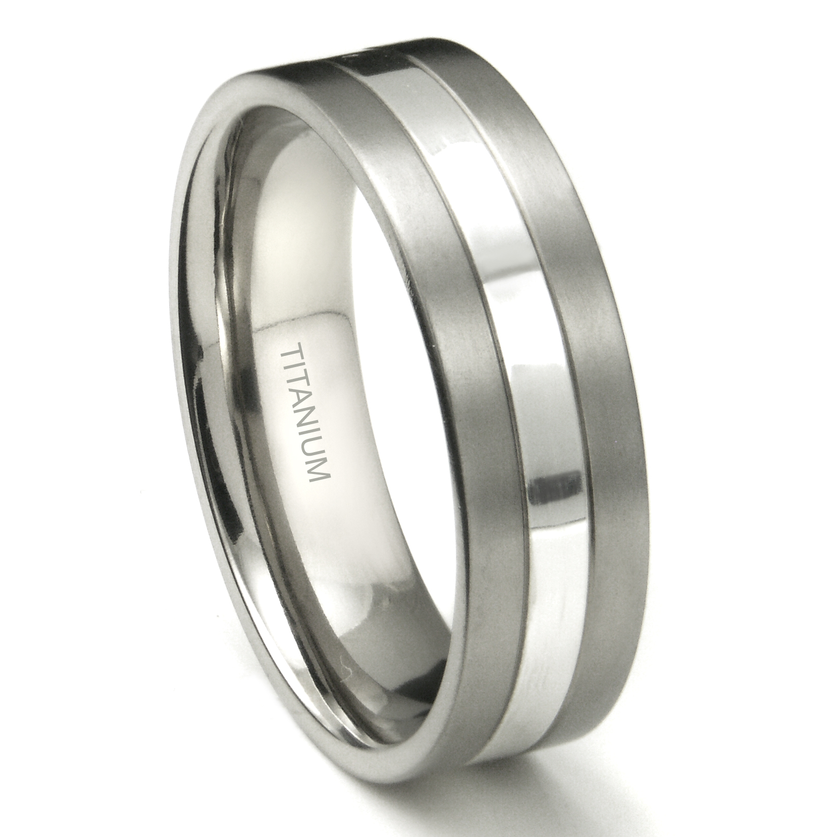 titanium 7mm two tone wedding ring With titanium ring wedding
