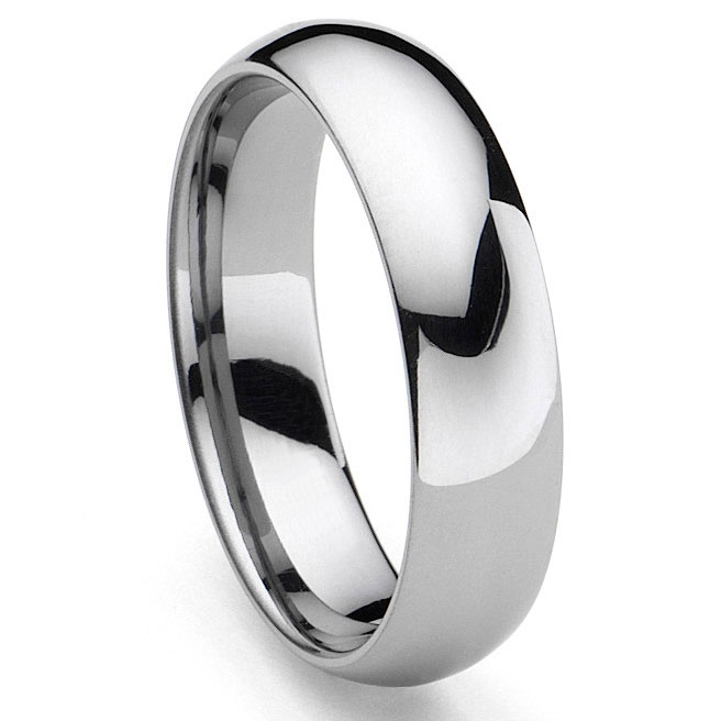 CLASSICAL Tungsten Carbide Mens Plain Dome Wedding Band
