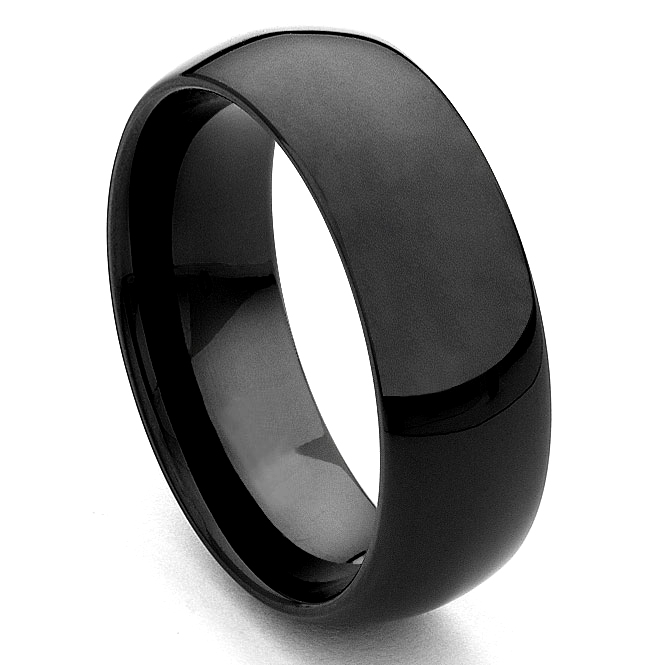 Black Tungsten Carbide Wedding Band Ring