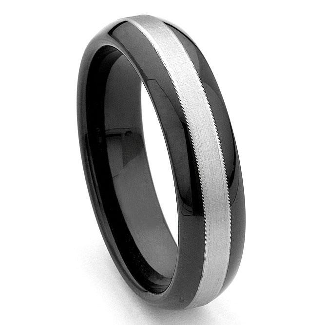 black tungsten carbide wedding band ring w brushed center
