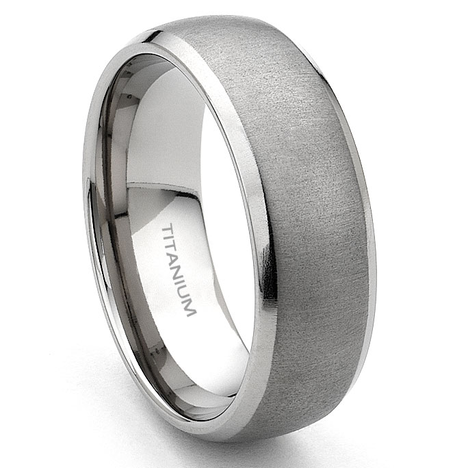 Titanium 7mm Brushed Mens Wedding Band Ring