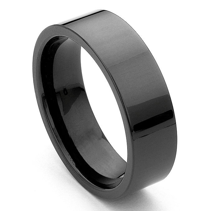 black tungsten carbide 7mm flat wedding ring - Tungsten Carbide Wedding Rings