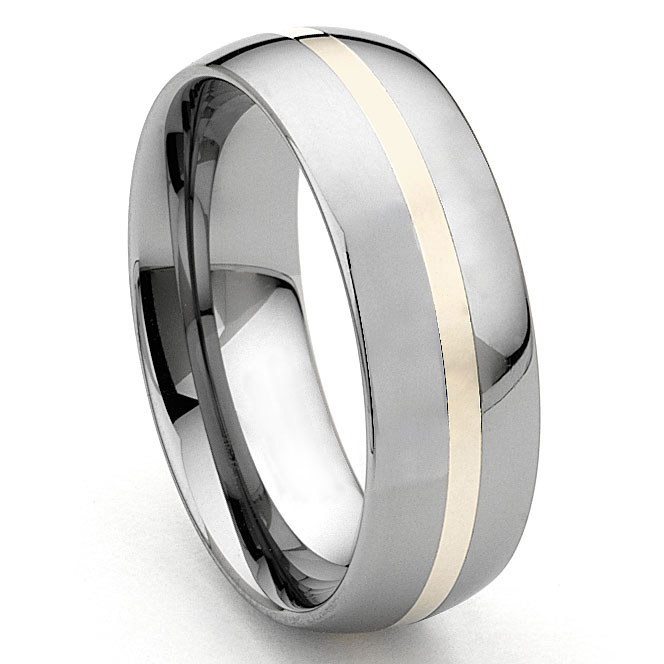 7536deff809e6 HERMES 8MM Tungsten Carbide 14K Gold Inlay Dome Wedding Band