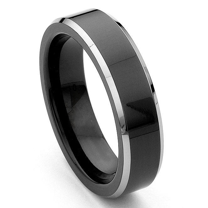black tungsten carbide 6mm comfort fit beveled wedding band ring - Tungsten Mens Wedding Ring