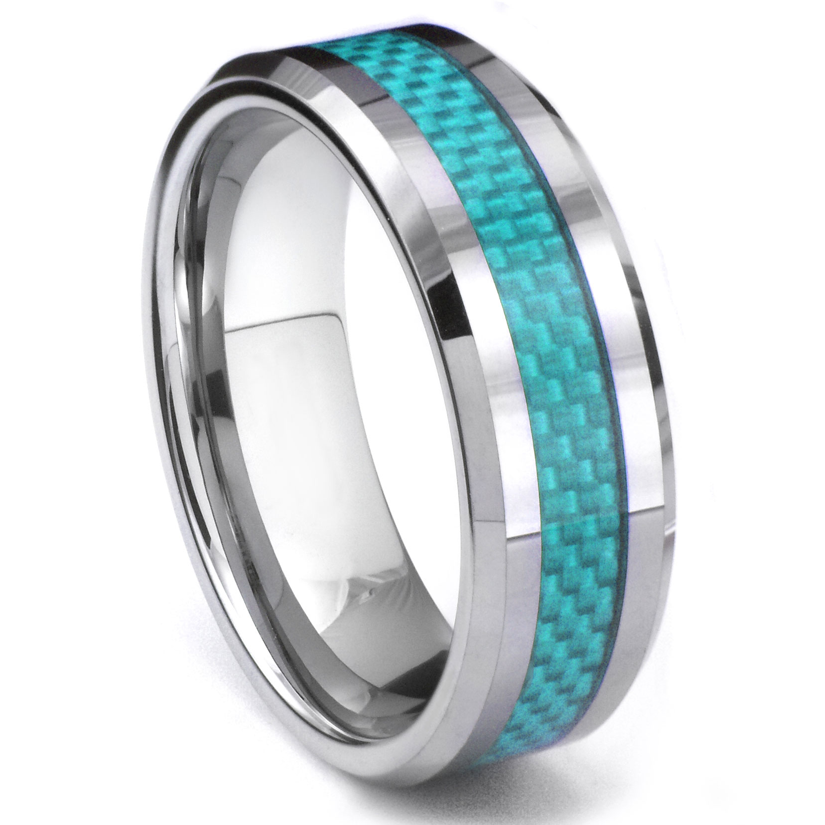 Cato tungsten carbide blue carbon fiber ring for Carbon fibre wedding ring
